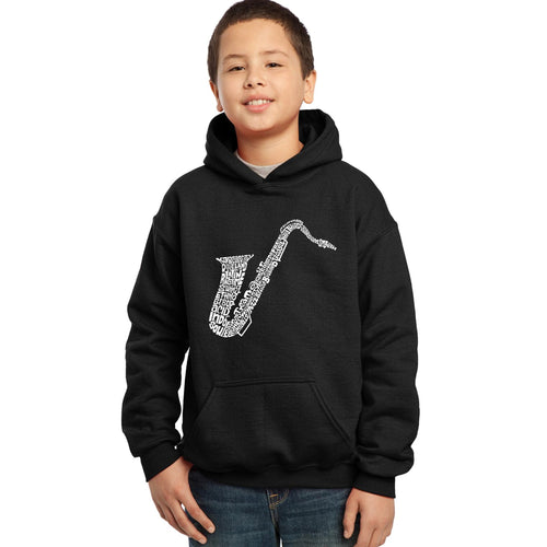 LA Pop Art Boy's Word Art Hooded Sweatshirt - Sax