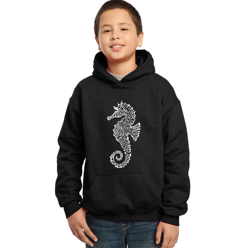 LA Pop Art Boy's Word Art Hooded Sweatshirt - Types of Seahorse