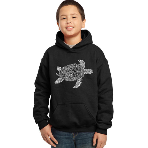 LA Pop Art Boy's Word Art Hooded Sweatshirt - Turtle