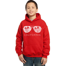 Load image into Gallery viewer, LA Pop Art Boy's Word Art Hooded Sweatshirt - California Shades
