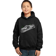 Load image into Gallery viewer, LA Pop Art Boy's Word Art Hooded Sweatshirt - Ski