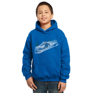 LA Pop Art Boy's Word Art Hooded Sweatshirt - Ski