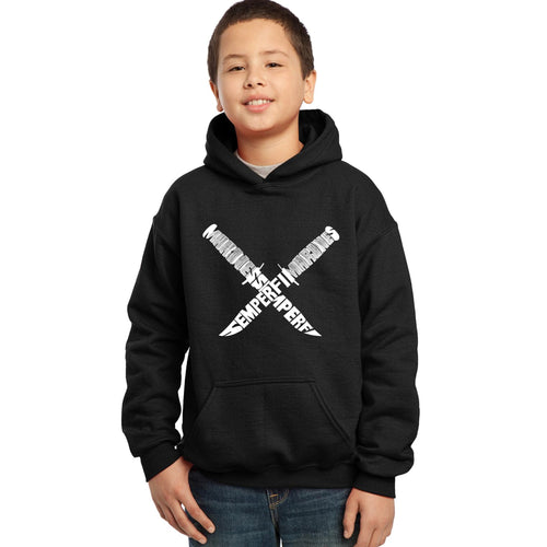 LA Pop Art  Boy's Word Art Hooded Sweatshirt - Semper Fi