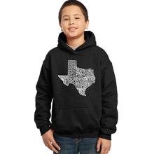 Load image into Gallery viewer, LA Pop Art Boy's Word Art Hooded Sweatshirt - The Great State of Texas