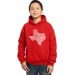 LA Pop Art Boy's Word Art Hooded Sweatshirt - The Great State of Texas