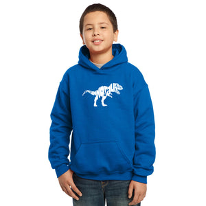 LA Pop Art Boy's Word Art Hooded Sweatshirt - TYRANNOSAURUS REX