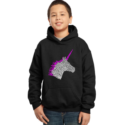 LA Pop Art Boy's Word Art Hooded Sweatshirt - Unicorn