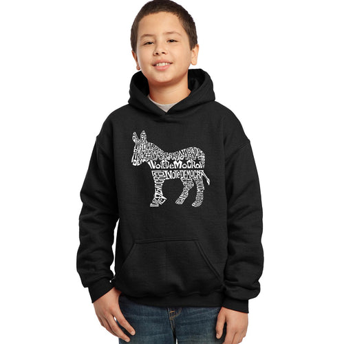 LA Pop Art Boy's Word Art Hooded Sweatshirt - I Vote Democrat