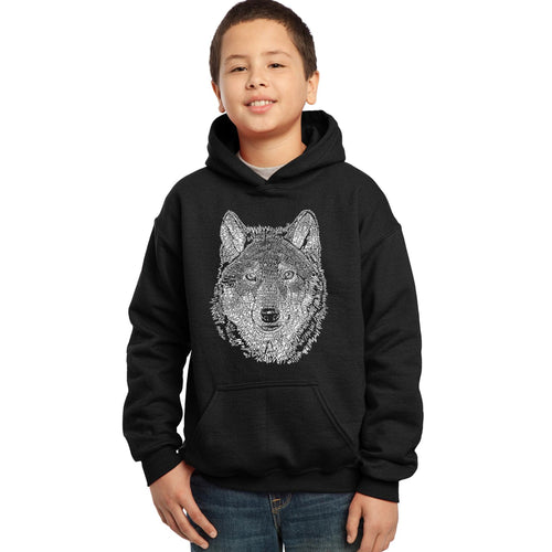LA Pop Art Boy's Word Art Hooded Sweatshirt - Wolf