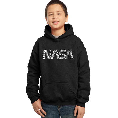LA Pop Art Boy's Word Art Hooded Sweatshirt - Worm Nasa