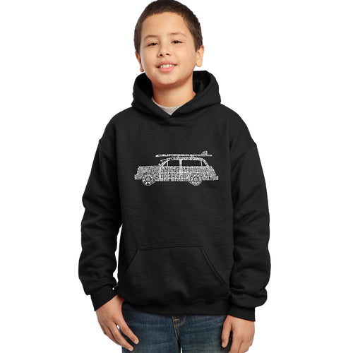 LA Pop Art Boy's Word Art Hooded Sweatshirt - Woody - Classic Surf Songs
