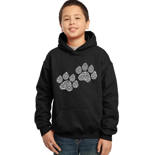LA Pop Art  Boy's Word Art Hooded Sweatshirt - Woof Paw Prints
