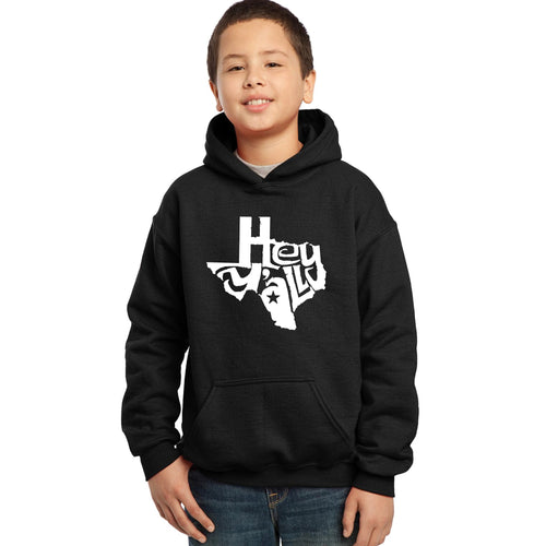 LA Pop Art Boy's Word Art Hooded Sweatshirt - Hey Yall