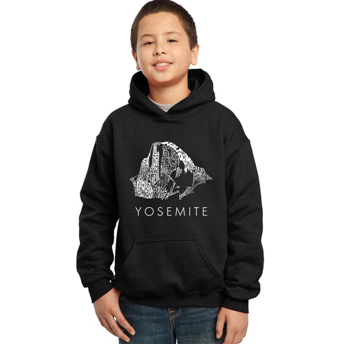 LA Pop Art  Boy's Word Art Hooded Sweatshirt - Yosemite
