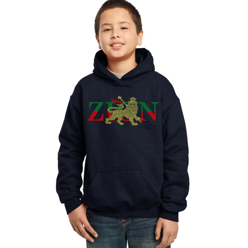 LA Pop Art Boy's Word Art Hooded Sweatshirt - Zion - One Love