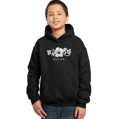 LA Pop Art Boy's Word Art Hooded Sweatshirt - ALOHA