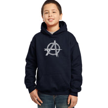Load image into Gallery viewer, LA Pop Art Boy's Word Art Hooded Sweatshirt - GREAT ALL TIME PUNK SONGS