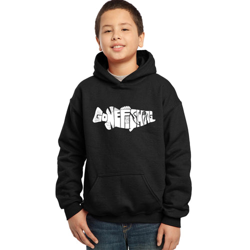 LA Pop Art Boy's Word Art Hooded Sweatshirt - Bass - Gone Fishing
