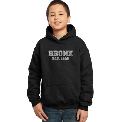 LA Pop Art Boy's Word Art Hooded Sweatshirt - POPULAR NEIGHBORHOODS IN BRONX, NY