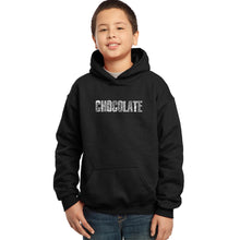 Load image into Gallery viewer, LA Pop Art Boy's Word Art Hooded Sweatshirt - Different foods made with chocolate