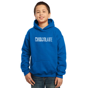 LA Pop Art Boy's Word Art Hooded Sweatshirt - Different foods made with chocolate