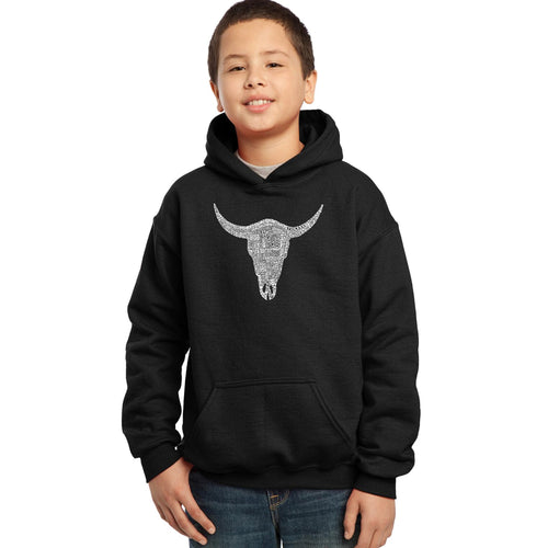 LA Pop Art Boy's Word Art Hooded Sweatshirt - COUNTRY MUSIC'S ALL TIME HITS