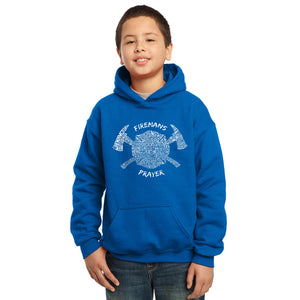LA Pop Art Boy's Word Art Hooded Sweatshirt - FIREMAN'S PRAYER
