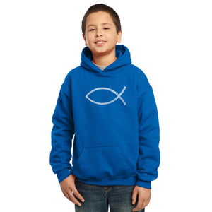 LA Pop Art Boy's Word Art Hooded Sweatshirt - JESUS FISH