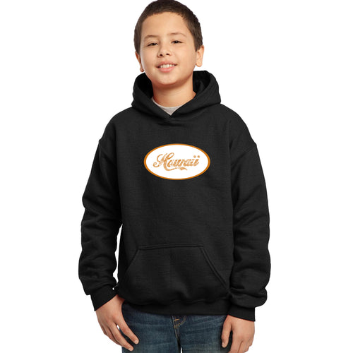 LA Pop Art Boy's Word Art Hooded Sweatshirt - HAWAIIAN ISLAND NAMES & IMAGERY