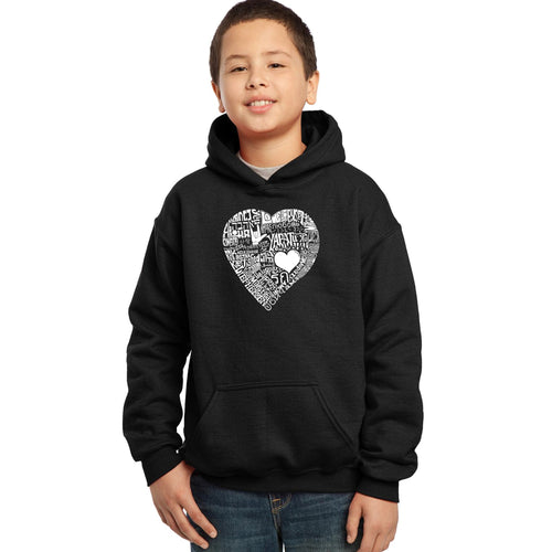 LA Pop Art Boy's Word Art Hooded Sweatshirt - LOVE IN 44 DIFFERENT LANGUAGES