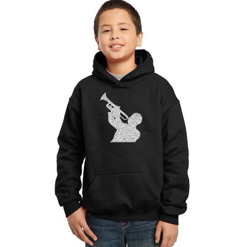 LA Pop Art Boy's Word Art Hooded Sweatshirt - ALL TIME JAZZ SONGS