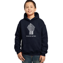 Load image into Gallery viewer, LA Pop Art Boy's Word Art Hooded Sweatshirt - No Justice, No Peace