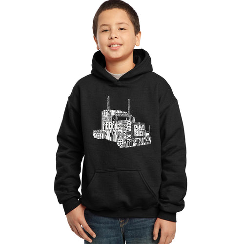 LA Pop Art Boy's Word Art Hooded Sweatshirt - KEEP ON TRUCKIN'