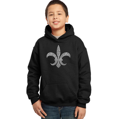 LA Pop Art Boy's Word Art Hooded Sweatshirt - FLEUR DE LIS - POPULAR LOUISIANA CITIES