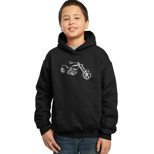 LA Pop Art Boy's Word Art Hooded Sweatshirt - MOTORCYCLE