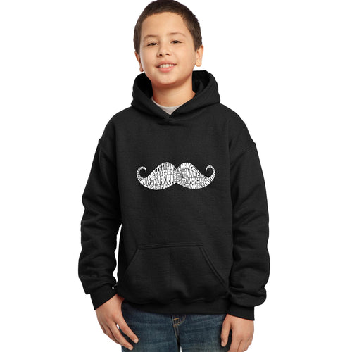 LA Pop Art Boy's Word Art Hooded Sweatshirt - WAYS TO STYLE A MOUSTACHE
