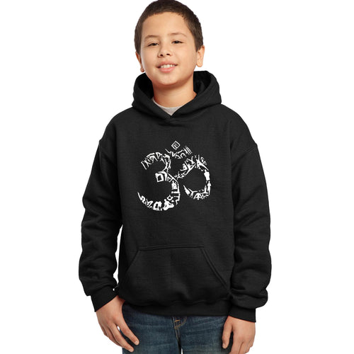 LA Pop Art Boy's Word Art Hooded Sweatshirt - THE OM SYMBOL OUT OF YOGA POSES