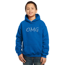 Load image into Gallery viewer, LA Pop Art Boy's Word Art Hooded Sweatshirt - OMG