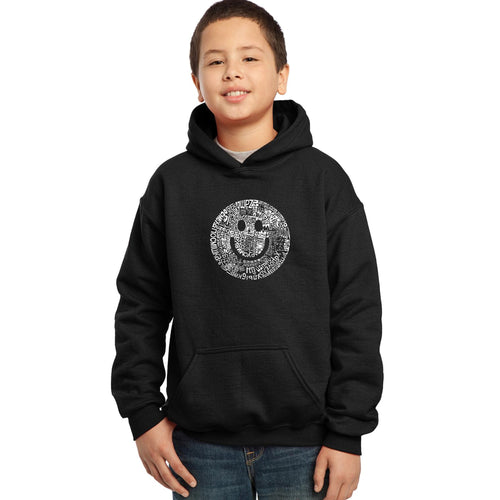 LA Pop Art Boy's Word Art Hooded Sweatshirt - SMILE IN DIFFERENT LANGUAGES