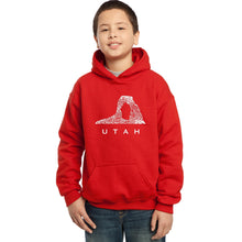 Load image into Gallery viewer, LA Pop Art Boy's Word Art Hooded Sweatshirt - Utah