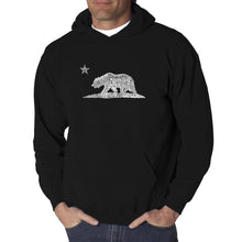 Load image into Gallery viewer, LA Pop Art Men's Word Art Hooded Sweatshirt - California Bear