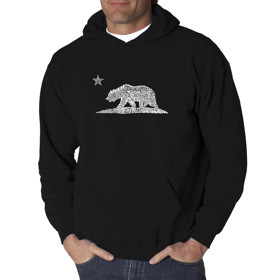 LA Pop Art Men's Word Art Hooded Sweatshirt - California Bear