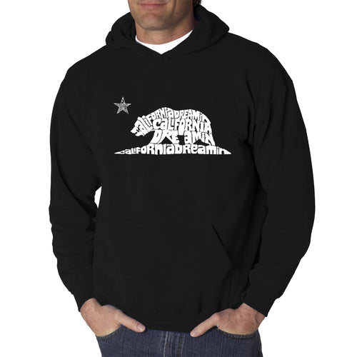 LA Pop Art Men's Word Art Hooded Sweatshirt - California Dreamin