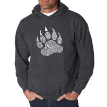Load image into Gallery viewer, LA Pop Art  Men's Word Art Hooded Sweatshirt - Types of Bears