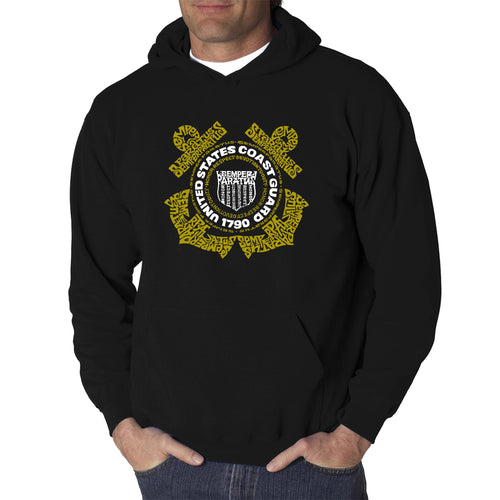LA Pop Art Men's Word Art Hooded Sweatshirt - Coast Guard