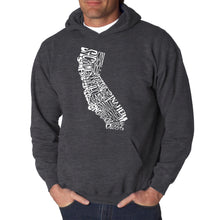 Load image into Gallery viewer, LA Pop Art  Men's Word Art Hooded Sweatshirt - California State