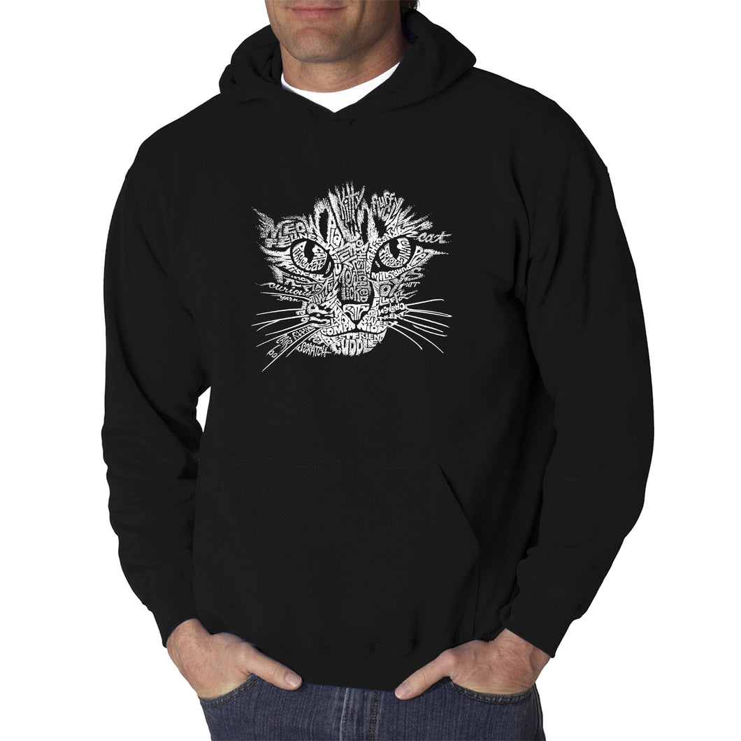 LA Pop Art  Men's Word Art Hooded Sweatshirt - Cat Face