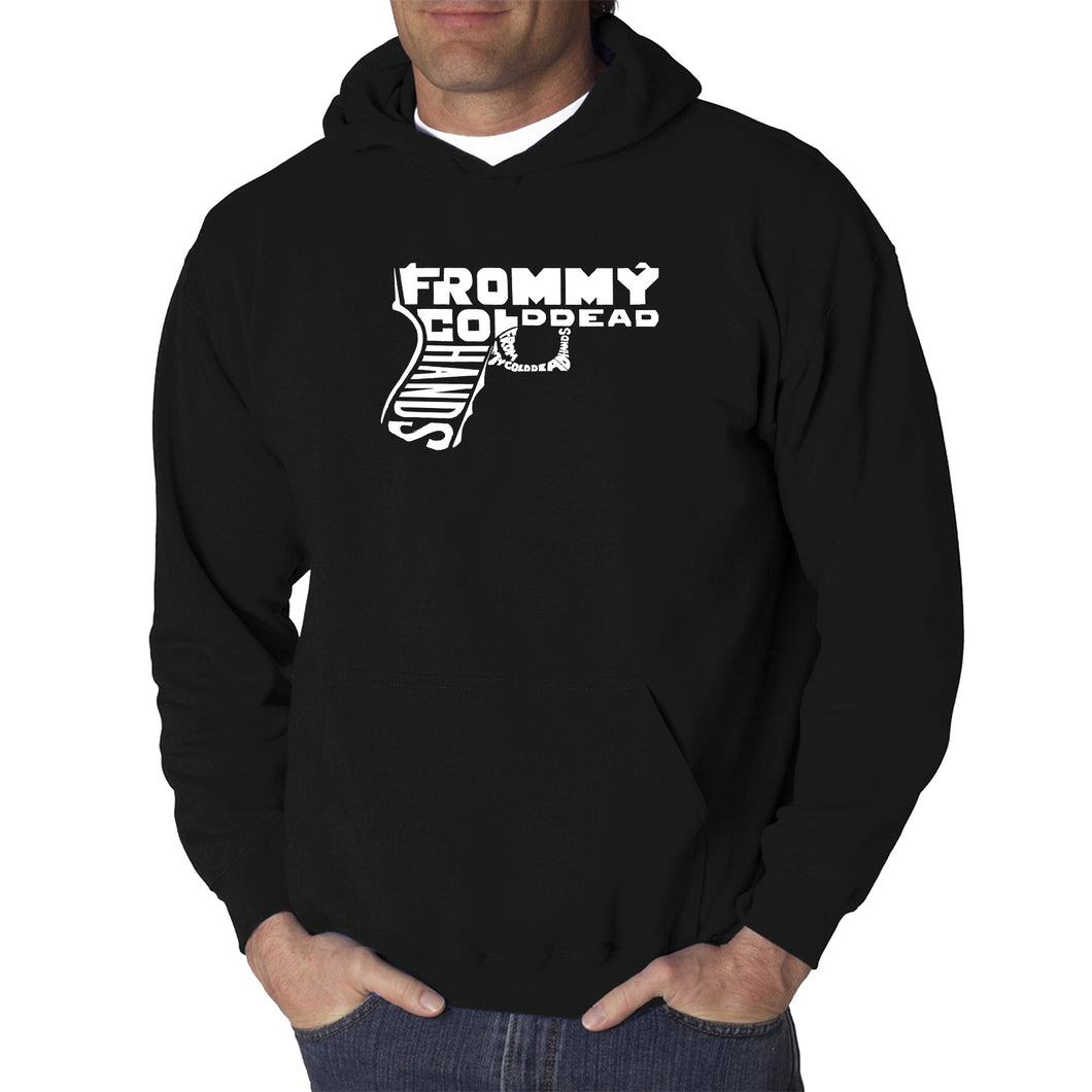 LA Pop Art  Men's Word Art Hooded Sweatshirt - Out of My cold Dead Hands Gun