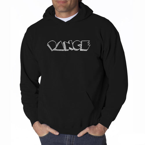 LA Pop Art Men's Word Art Hooded Sweatshirt - DIFFERENT STYLES OF DANCE
