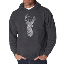 Load image into Gallery viewer, LA Pop Art Men's Word Art Hooded Sweatshirt - Types of Deer